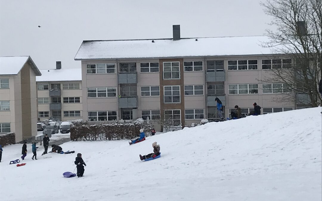 Sneen er iskold og kælkeklar – og det fik beboerne ud i det friske vejr!
